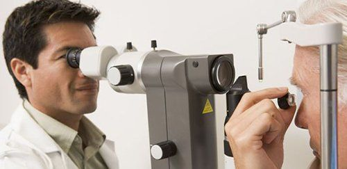An eye doctor tests eyesight in West Chester, OH