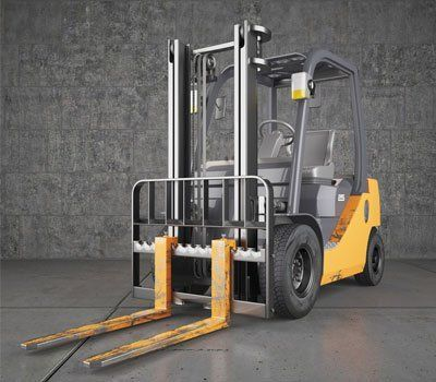 Empty yellow forklift