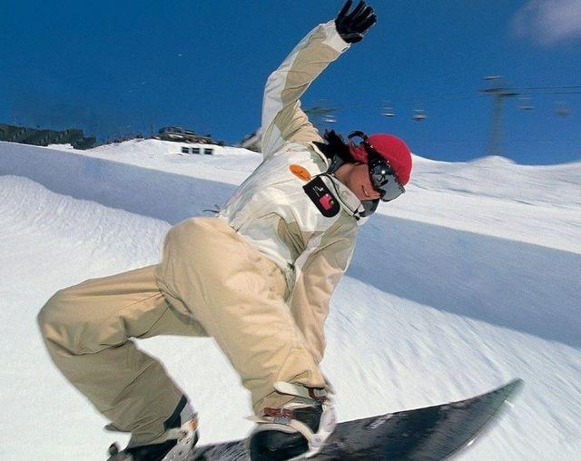 Ski Camera Shown on Snowboarder. Surf Camera
