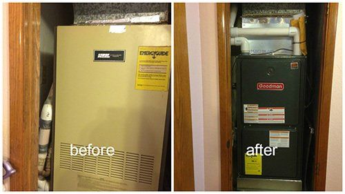 Before and after repair view of the HVAC system in Kingman, AZ
