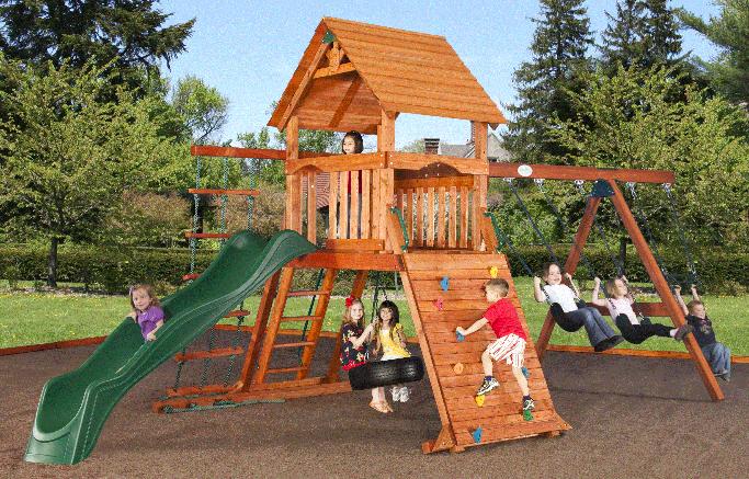 Swingset on rubber mulch