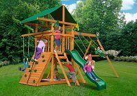 Playset on brown rubber mulch