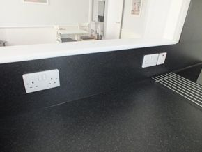 double wall sockets above worktop