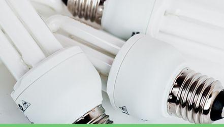 a selection of energy saving E S lightbulbs