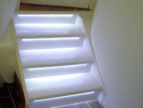 stairway lit with white lighting