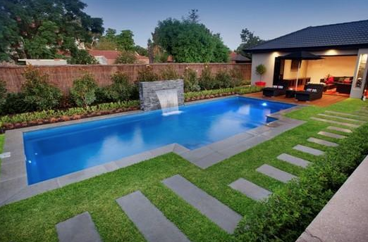 View of a newly built swimming pool in the real estate