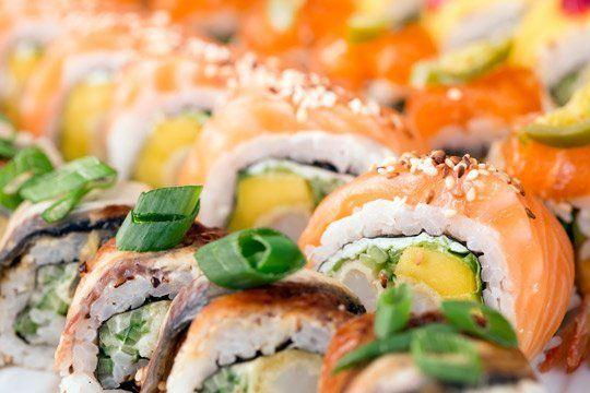 Vista da vicino del sushi, Piatto tipico della cucina giapponese a Palermo