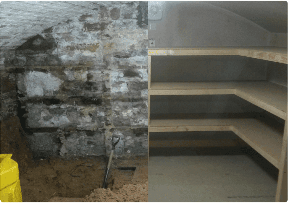 Cellar conversion before and after picture