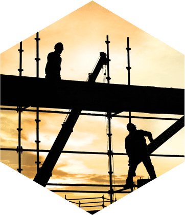 Builders on scaffolding