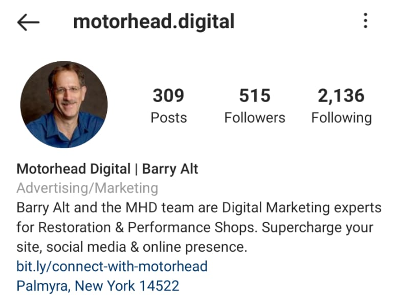 Instagram bio for motorhead digital
