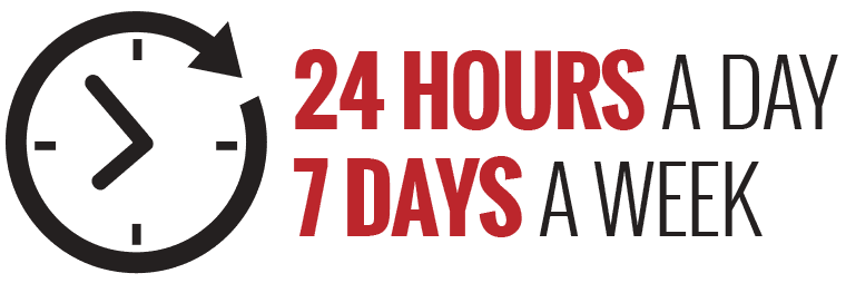24 Hours a day 7 days a week clock illustration