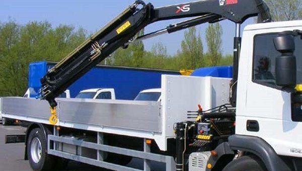 HIAB crane truck at our car storage facility in Perth