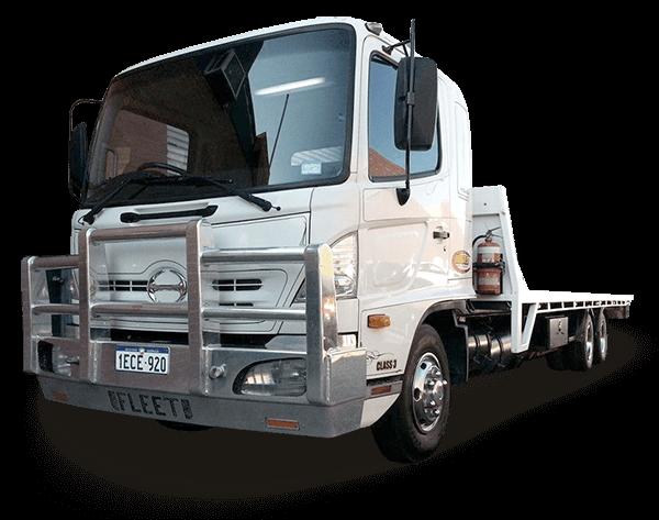 large white tilt truck