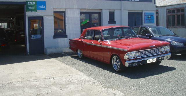 Car parked outside workshop