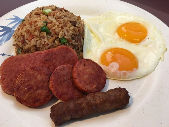 Breakfast of sausages, spam, eggs & fried rice served at Asahi Grill Ward in Honolulu, Hawaii