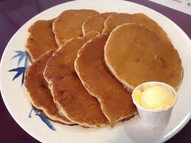 Breakfast of pancakes served at Asahi Grill Ward in Honolulu, Hawaii