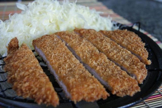 Delicious traditional Chicken Katsu with cabbage at Asahi Grill Ward in Honolulu, Hawaii