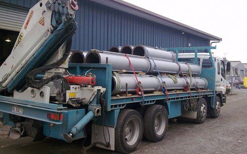 Steel fabrication truck loaded with heavy fume ducting in Auckland