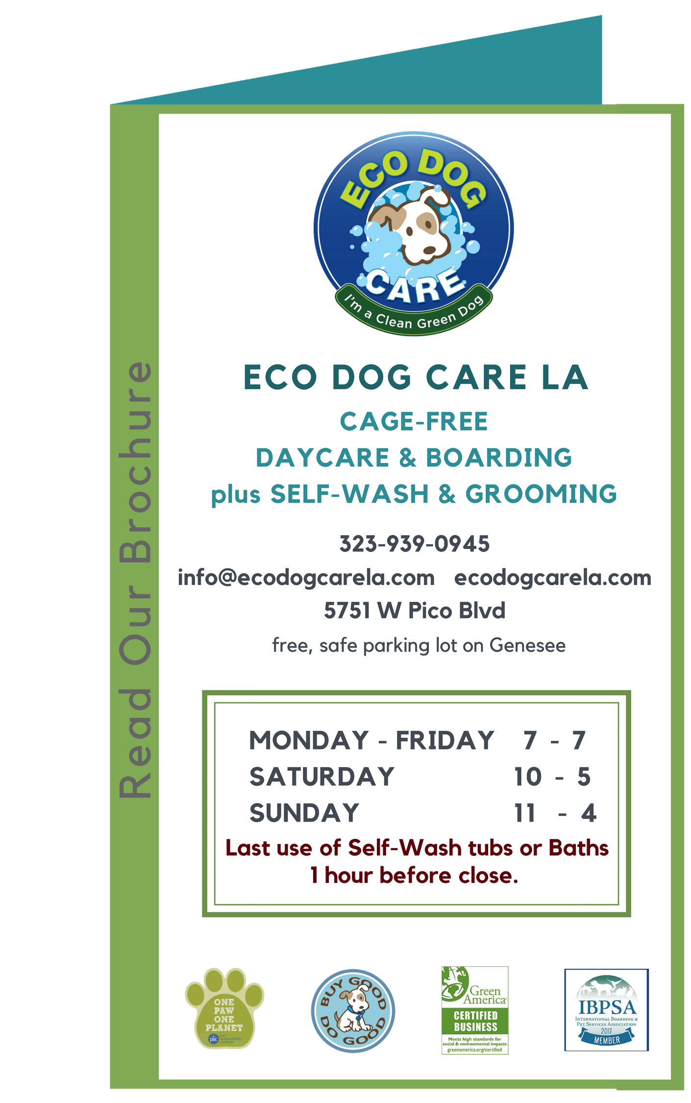 brochure of services for Eco  Dog Care LA