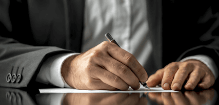 notary writing a document