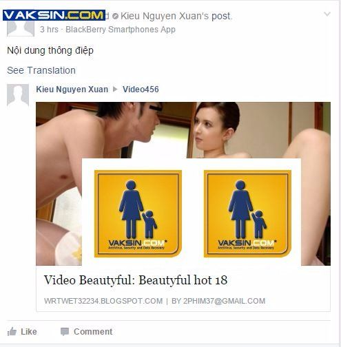 Gambar 5, Posting porno Vietnam Rose menggunakan Apps Facebook dengan nama Blackberry Smartphone Apps