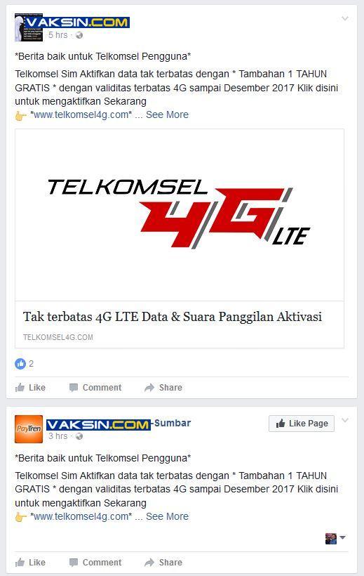 Telkomsel 4G Scam