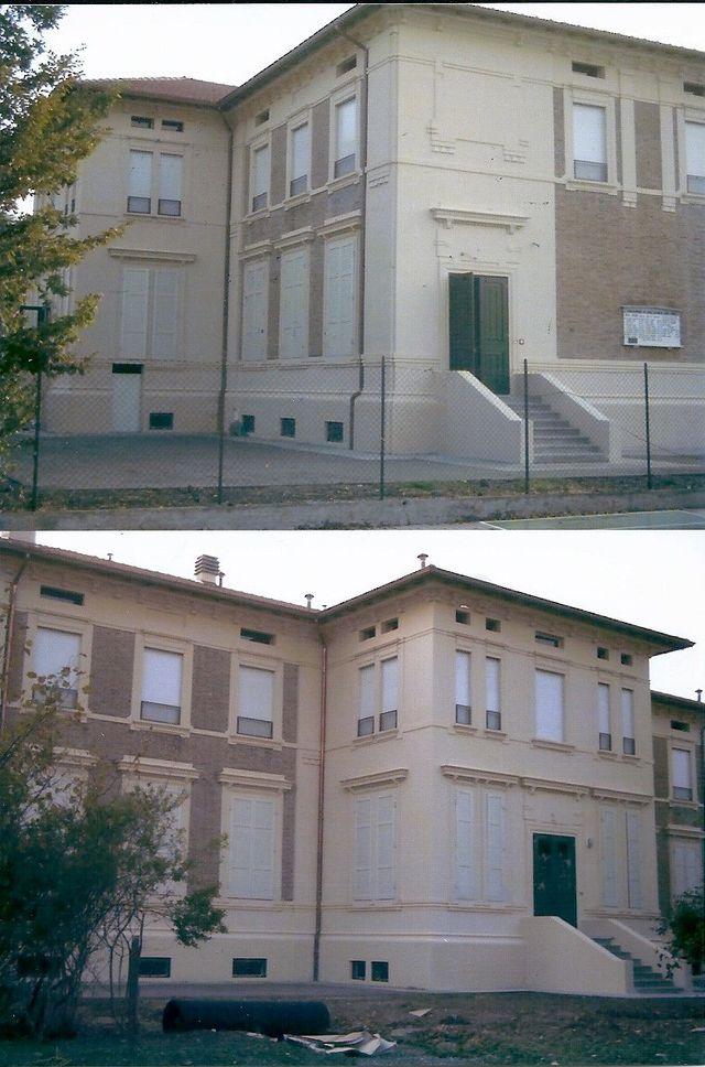facciata esterna di un palazzo  prima e dopo la verniciatura