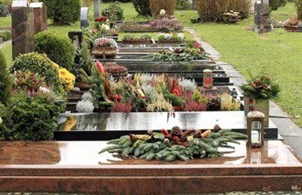 Tombe coperte di piante e fiori