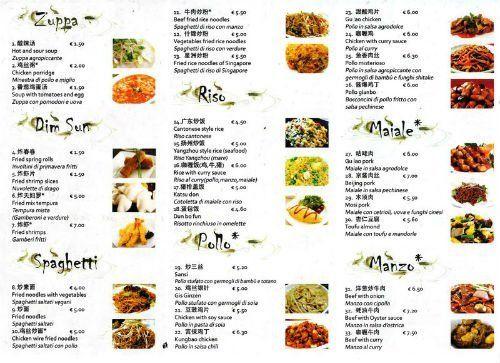 il menù del ristorante 9pesci