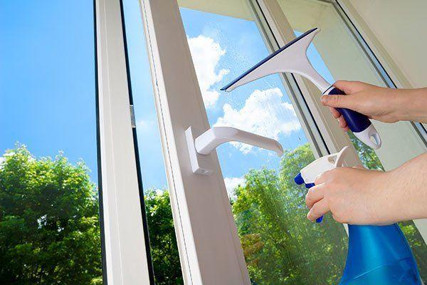 cleaning open plastic vinyl window