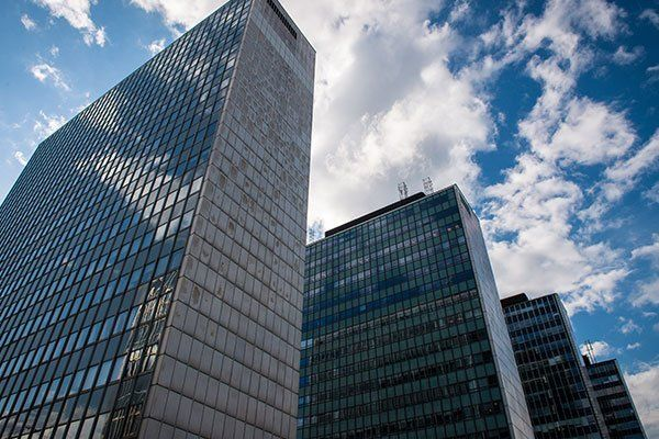 office buildings with glass windows