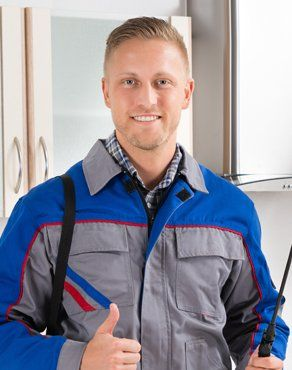 pest control expert in blue and grey uniform