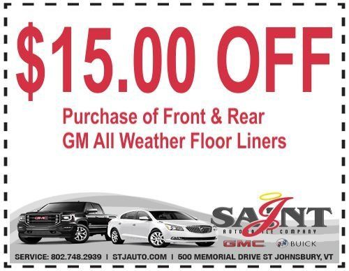 $15.00 Off GM ALL Weather Floor Liners at St J Auto in St. Johnsbury, VT