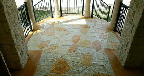 Patio with decorative concrete in San Antonio, TX