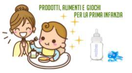 due omini e la scritta prodotti,alimenti e giochi per la prima infanzia