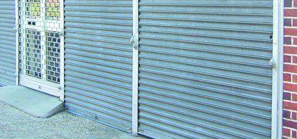 blue rolling shutters