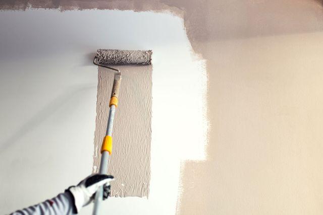 un rullo con il colore tortora vernice che riposa su una parete del pannello bianco