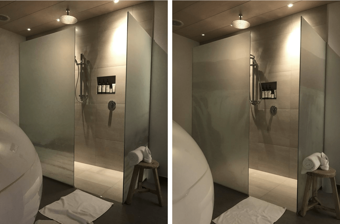Shower glass printed frosting  waterfall photo