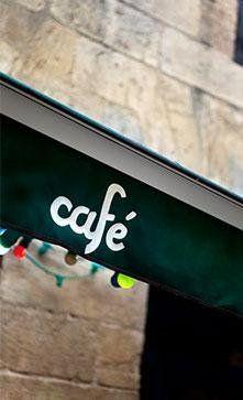 Tenda da sole scritta Cafe