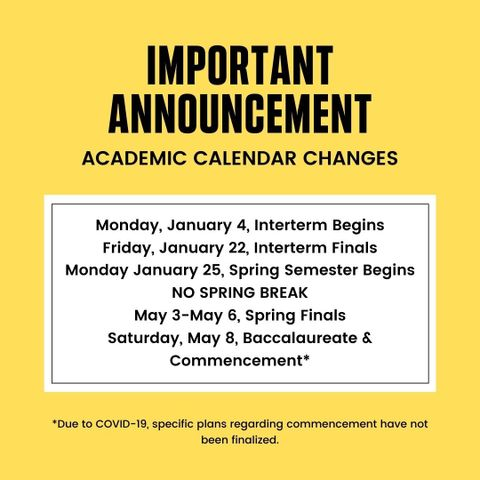 Hunter Academic Calendar Spring 2022.Bethany College Announces Academic Calendar Updates