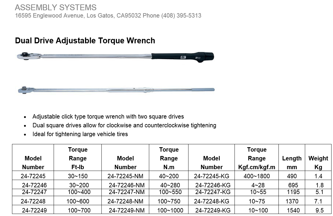 Dual Drive Adjustable Torque Wrench | Skye Industries, Inc