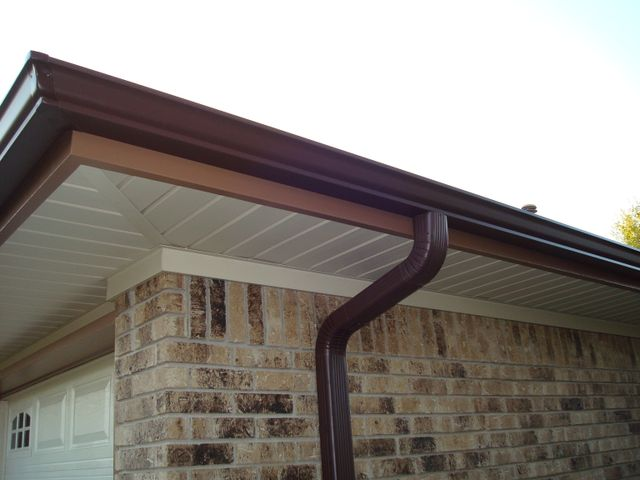 gutter and downspout on a house that Quality Builders constructed
