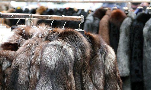 delle pellicce appese su un appendiabiti