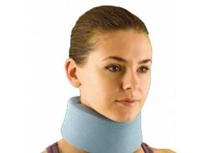 una ragazza con un collare azzurro