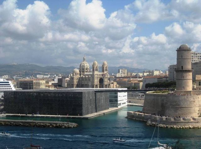 View of the Mucem museum and the villa méditerranée as well as the cathedral la Major in Marseilel.