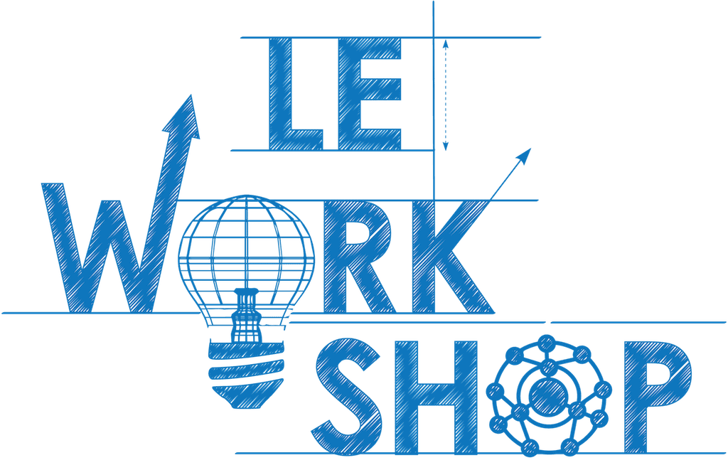 blue letters on white background saying le workshop