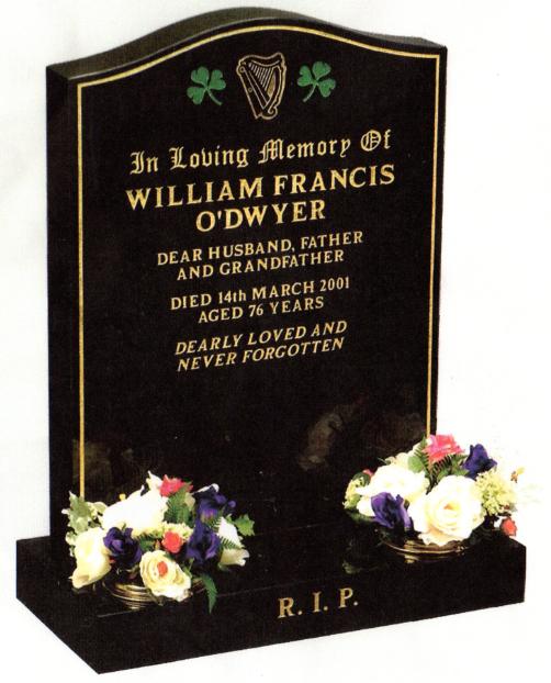 Polished Black Granite memorial