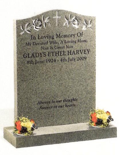 Polished Karin Grey Granite memorial