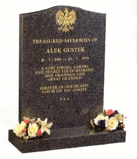 Polished Dark Grey Granite memorial