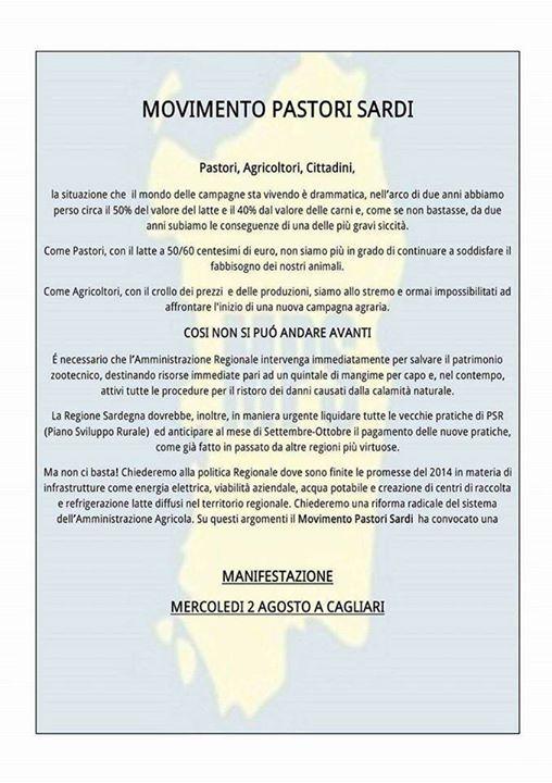 Manifestazione Movimento Pastori Sardi